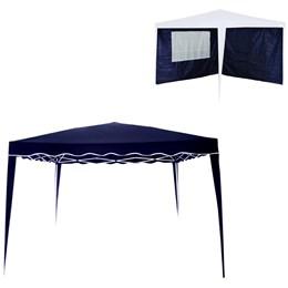 Kit Tenda Gazebo 3x3m Articulado Sanfonado Azul + 2 Paredes 3x3 metros MOR 3571
