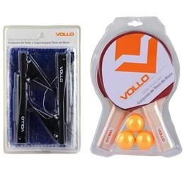 Kit Tênis de Mesa 2 Raquetes 3 Bolas com Rede Nylon Table Tennis - Vollo