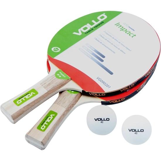 Kit Tênis de Mesa com 2 Raquetes e 2 Bolas - VOLLO VG090201
