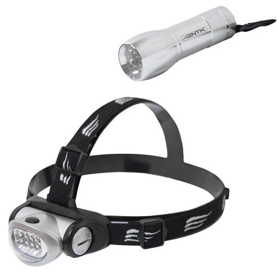 Lanterna de Cabeça 8 LEDs Turbo Led + Mini Lanterna 9 LEDs Blitz Nautika