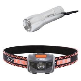 Lanterna de Cabeça LED Katori 140 Lúmens AZTEQ + Mini Lanterna 9 LEDs Nautika