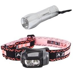Lanterna de Cabeça LED Mistik 140 Lúmens AZTEQ + Mini Lanterna 9 LEDs Nautika