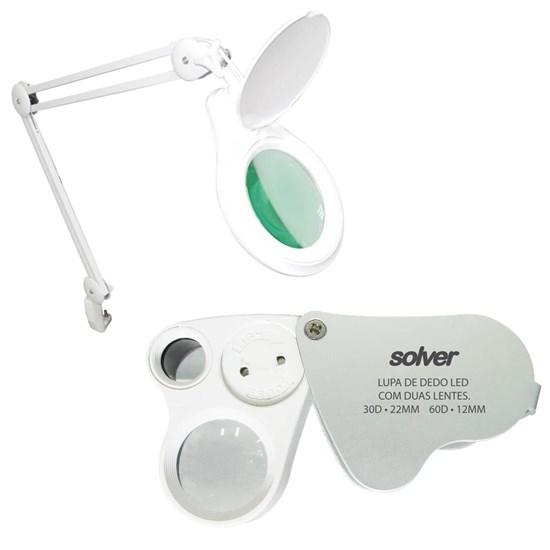 Lupa de Bancada Solver HL-410 LED 8D + Lupa de Bolso Dupla Ampliação 30x e 60x com LEDs SLD-132