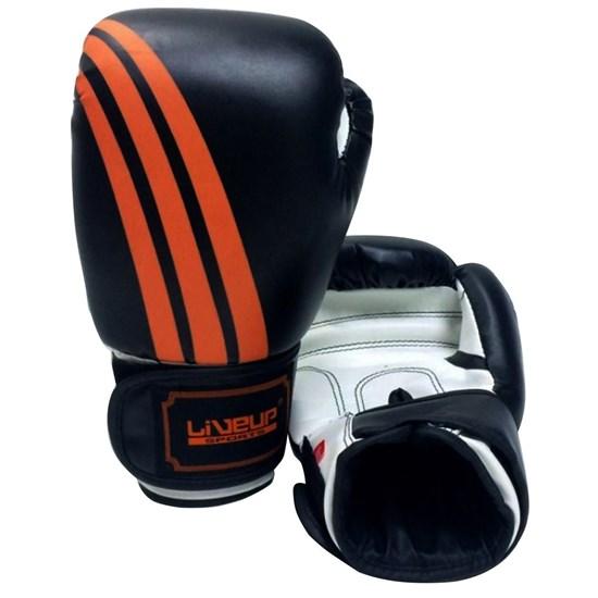 Luva De Boxe e Muay Thai 14 Oz Preta com Laranja - LiveUp Sports LS3086D