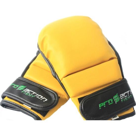 Luva de MMA Treinamento Preta / Amarela Tamanho M / G Proaction F030