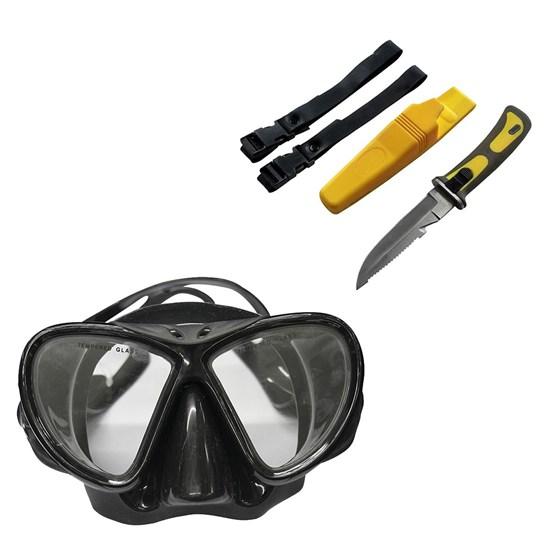 Máscara de Mergulho Black com Protetor Nasal Nautika + Faca Scuba Amarela
