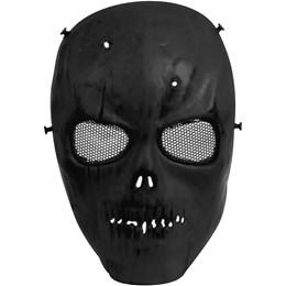 Mascara de Proteção Caveira Preta Airsoft com Tela em Metal - Highlander HY-048 BK