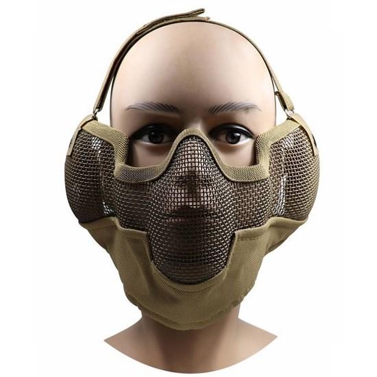 Máscara Meia Face Airsoft Nautika em Metal Telada com Alça