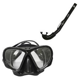 Mascara Mergulho Lente Dupla e Protetor Nasal + Respirador Snorkel Hunt Nautika