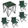 Mesa Camping Dobrável + 4 Cadeiras Dobráveis Boni com Porta Copo Verde Nautika