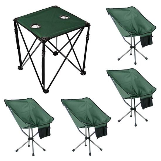 Mesa Camping Dobrável + 4 Cadeiras Dobráveis para Camping Guepardo Joy Verde