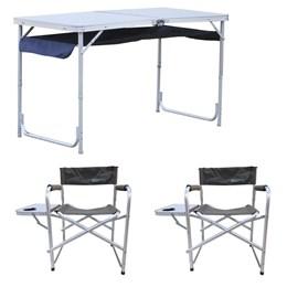 Mesa Dobrável com Organizador + Cadeira Dobrável Diretor Nautika