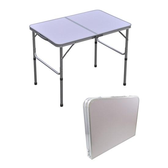 Mesa Dobrável para Camping Importway Altura Regulável Vira Maleta 90 x 60 cm