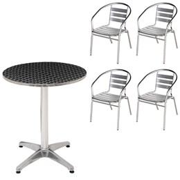 Mesa Redonda MOR em Alumínio com 60 CM Diâmetro + 4 Cadeiras