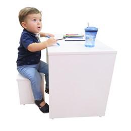 Mesinha Multiuso Infantil MDF com Banqueta Branco