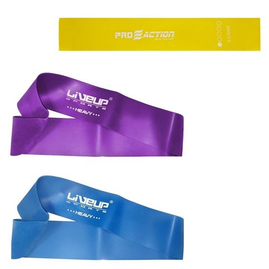 Mini Bands Super Forte + Mini Bands Forte Azul + Mini Band Proaction Ultra Leve