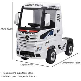 Mini Caminhão Elétrico Importway Mercedes Benz Actros Branco 12V