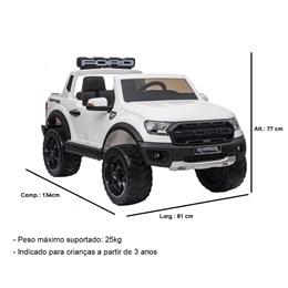 Mini Caminhonete Elétrica Importway Ford Raptor Branco 24V com Cinto