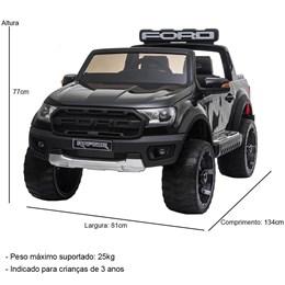Mini Caminhonete Elétrica Importway Ford Raptor Preta 24V com Cinto