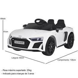 Mini Carro Elétrico Importway Audi R8 Spyder 12V Branco com Luzes e Som