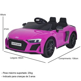 Mini Carro Elétrico Importway Audi R8 Spyder 12V Rosa com Luzes e Som