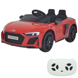 Mini Carro Elétrico Importway Audi R8 Spyder 12V Vermelho com Luzes e Som