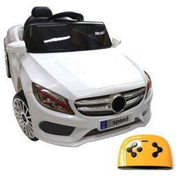 Mini Carro Elétrico Infantil com Controle Remoto BW-007BR Branco