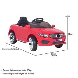 Mini Carro Elétrico Infantil com Controle Remoto BW-007VM Vermelho