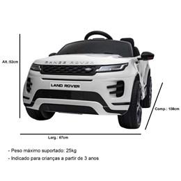 Mini Carro Elétrico Licenciado Importway Land Rover Evoque Branco com Controle Remoto