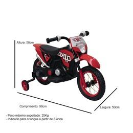 Mini Moto Cross Elétrica Infantil Importway Vermelho com Bateria Recarregável