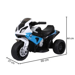 Mini Moto Elétrica Infantil Importway BMW S1000 RR Azul e Branca com Rodinhas