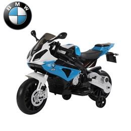 Mini Moto Elétrica Infantil Importway BMW S1000 RR Azul e Branco com Rodinhas