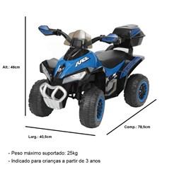 Mini Quadriciclo Elétrico Infantil Importay BW129AZ Azul 6V com Carregador