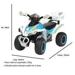 Mini Quadriciclo Elétrico Infantil Importay BW129BR Branco 6V com Carregador