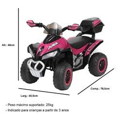 Mini Quadriciclo Elétrico Infantil Importay BW129RS Rosa 6V com Carregador