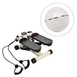 Mini Stepper com Monitor LCD Até 110KG ACTE + Gym Ball 55 cm com Bomba de Ar Vollo