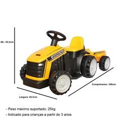Mini Trator Elétrico Infantil Importway Amarelo 6V com Reboque