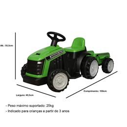 Mini Trator Elétrico Infantil Importway Verde 6V com Reboque