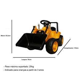 Mini Trator Infantil Elétrico Importway Amarelo 6V com Escavadeira