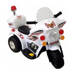 Mini Veículo Moto Police Infantil BW002-B Branca Miniway