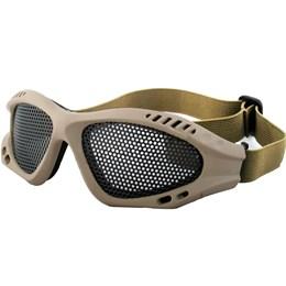 Óculos de Proteção Airsoft com Alça Ajustável e Tela de Metal Tan