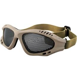 Óculos de Proteção Airsoft com Alça Ajustável e Tela de Metal Tan FORA DE LINHA