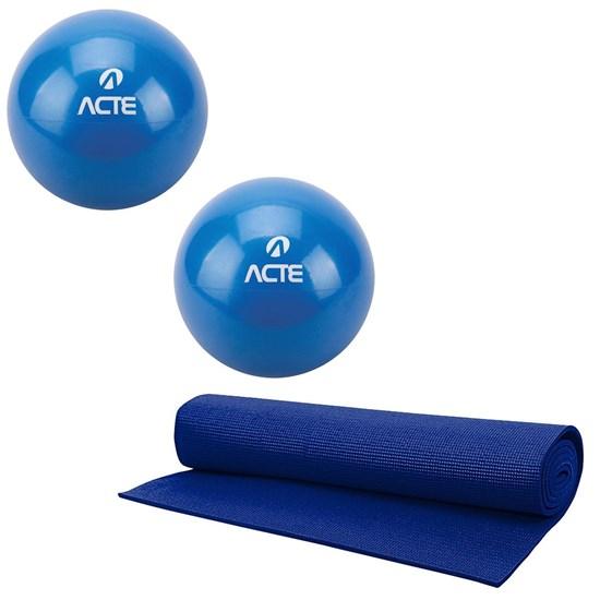 Par de Bolas Tonificadoras Peso de 3KG + Tapete para Exercícios Yoga 60cm ACTE