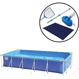 Piscina 10000 Litros MOR 1027 + Kit de Limpeza para Piscinas Nautika 106200 + Forro MOR 1470