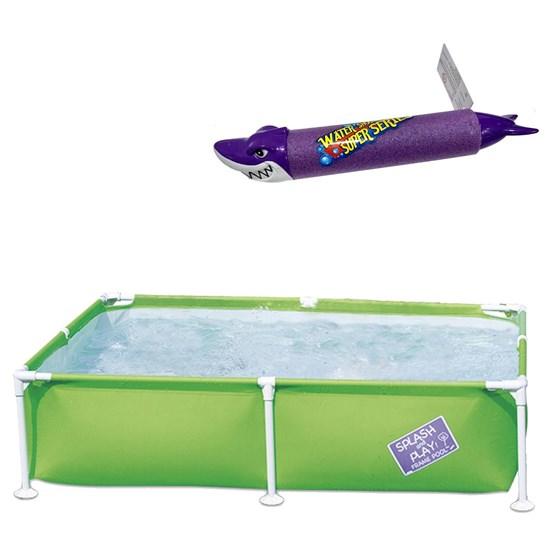 Piscina Bestway Infantil Estruturada 800 Litros + Lança Água Tubarão Roxo