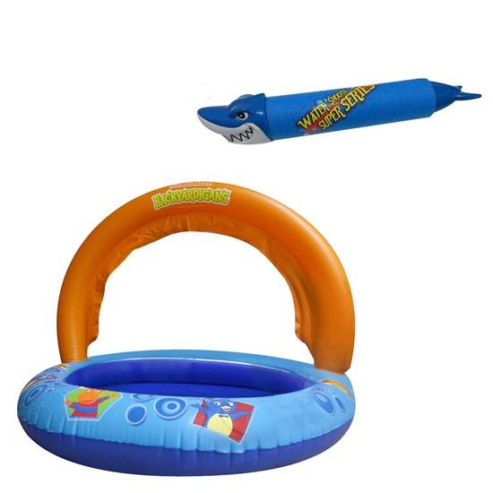 Piscina Infantil Nautika Backyardigans + Lança Água Tubarão Azul