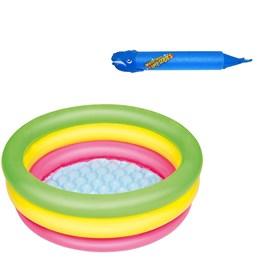 Piscina Inflável Infantil Bestway 41 Litros 70 cm Diâmetro + Lança Água Baleia Azul
