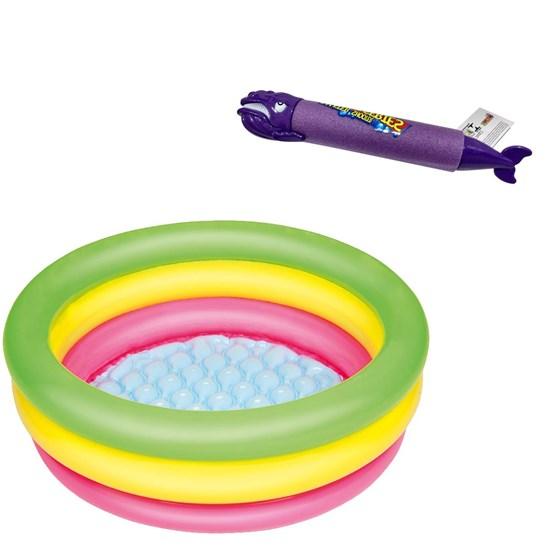 Piscina Inflável Infantil Bestway 41 Litros 70 cm Diâmetro + Lança Água Baleia Roxa