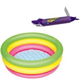 Piscina Inflável Infantil Bestway 41 Litros 70 cm Diâmetro + Lança Água Tubarão Roxo