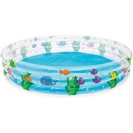 Piscina Inflável Infantil Bestway 480 Litros 1,83 m Diâmetro + Lança Água Baleia Azul